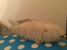 Maitland Smith  Rare 70's Sculpture Tessellated Stone Fish With Brass Inlays