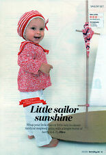 ~ Baby Knitting Pattern For Pretty Sailor Jacket & Beret  ~