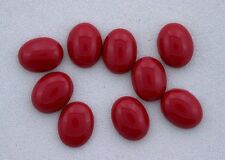 SIX 9x7 9mm x 7mm Oval Resinated Red Coral Cabochon Cab Gem Stone Gemstone cc9