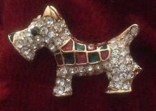 Reino Unido diseñador terrier escocés, Scotty Dog de Cristal Broche Rojo/Verde Esmalte Chaqueta