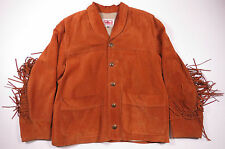 VTG 90S USPS WESTERN PONY EXPRESS SUEDE LEATHER FRINGE JACKET US POSTAL SERVICE