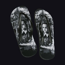 Darkside Clothing Medium Wednesday Addams Flip Flops. Halloween. Horror.