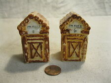 Vintage Original I'm Fulla Log Outhouse Salt and Pepper Shaker Ceramic        92