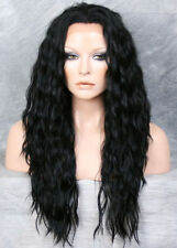 Black  HEAT SAFE Lace Front Wig Wispy Wavy Long Layered NGFT 1
