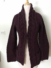 Anthropologie Guinevere Wool Shawl Collar Cable Knit Cardigan Purple Wine Small
