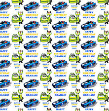Personalised Gift Wrapping Paper RACING CAR Birthday Any Name! Large Sheet!