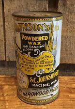 Antique 1913 JOHNSON'S Powdered Wax For Dancing Floors Advertising Tin 14 Ounces