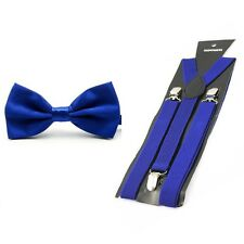 Men Fashion Satin Solid Color Bowtie Bow Tie Elastic Y-Back Suspender Brace Set