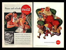 Original 1938 Coca Cola Soda Pop Santa Claus & Helpers Young Girls Car Print Ads