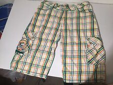 Authentic Men's COOGI 36 BRIGHT PLAID RAINBOW BLING LONG SHORTS -GOLD BUTTONS