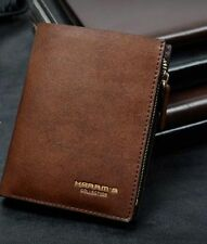 Harrm's Men Zipper Wallet Brown Bifold Short Leather