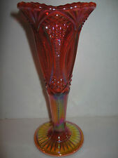 Marigold carnival glass diamond pattern flower / bud vase rose zipper iridescent