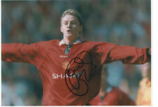 OLE GUNNAR SOLSKJAER Signed 12x8 Photo MANCHESTER UTD & NORWAY COA