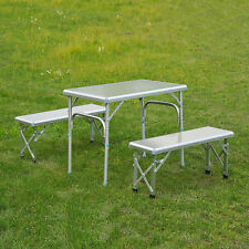 Outsunny Folding Picnic Table Bench Combo Portable Aluminum Outdoor Camping BBQ