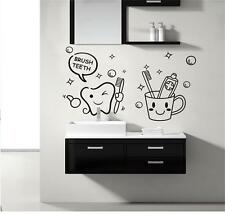 Brush Teeth  Removable ArtVinyl Quote Wall Sticker Decal Mural Home Room Decor