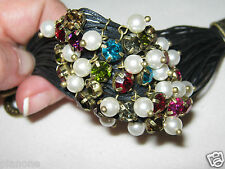 Multi-Strand Toggle Bracelet Pearl & Austrian Crystals