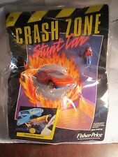 Fisher Price Crash Zone Stunt Car with Driver NEW Orange car ejects ejection