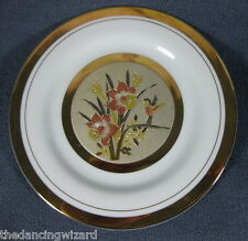 "The Art Of Chokin 6 1/2"" Plate Hummingbird Daffodils Gold Trim Japan"