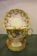 Royal Sealy Fine Bone China Pears and Grapes Heavy Gold Footed Cup and Saucer
