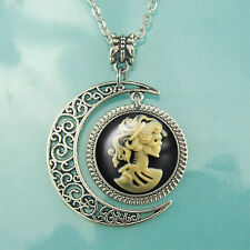 Victorian Sugar Skull Necklace Zombie Day of the Dead Lady Skeleton jewelry Moon