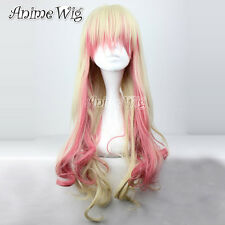 80CM Blonde Mixed Pink Long Curly Macross F Sheryl Nome Anime Cosplay Hair Wig