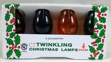 4 Pack of Transparent MULTI COLOR TWINKLING Flashing C-7 Light Bulbs Christmas