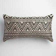Black and Taupe Kilim Indoor Outdoor Patio Lumbar Pillow by World Market