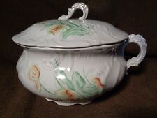 antique CHAMBER POT & LID TOP painted ART POTTERY Porcelain LENOIR