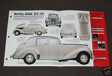 1946-1952 BENTLEY MK VI (1948) Car SPEC SHEET BROCHURE PHOTO BOOKLET