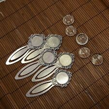 5sets DIY Alloy Portrait Bookmark Making Blank Base Clear Glass Cabochon Cover