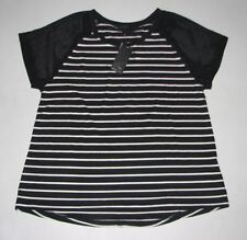 BULK 5 Womens WEST KEI BLACK/WHITE Striped Shirt Sheer Sleeves Size XXL, XXLARGE