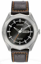 CITIZEN AW0060-03E MENS ECO-DRIVE SUPER TITANIUM BLACK DIAL LEATHER BAND WATCH