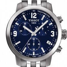 New Mens Tissot T055.417.11.047.00 PRC 200 Blue Dial Stainless Stee Chronograph