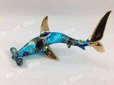 TINY CRYSTAL sharks HAND BLOWN CLEAR GLASS ART FIGURINE ANIMAL COLLECTION