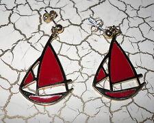 Vintage Red Sailboat Pierced Earrings Enamel Goldtone Retro Womens Nautical