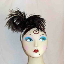 Handmade Black Double Bent Ostrich Feather Headpiece w/ Silver Ribbon Trim