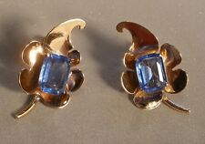 Sterling Leaf Screw Back Earrings with Blue Stone