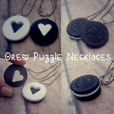 2 Piece Set, Oreo Best Friend Necklaces, Couples, Gift, Bf, Bff, Food Jewelry