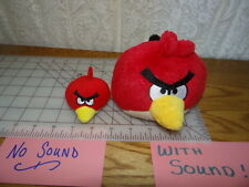 """Lot of 2 Angry Birds 5"""" red (Sound) 3"""" red pencil topper, finger puppet (no Sou)"""
