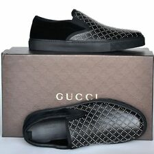 GUCCI New sz 8 G - US 8.5 Authentic Designer Mens Diamante Loafers Shoes black
