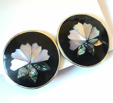 Vintage MEXICAN ALPACA Paua Shell FLOWER EARRINGS Mexico ABALONE Silver Plated