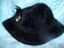 Ladies Kangol Designer England Black Fur Cap Hat
