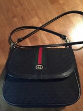 Vintage Gucci GG Monogram Red Green Stripe Black Shoulder / Cross Body Handbag