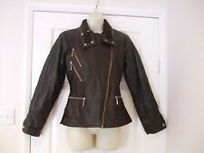 bnwt fits size 10 brown leather look womens jacket Summer Winter Ladies Work