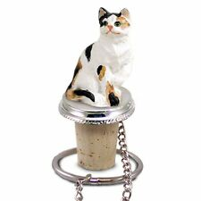 Calico CAT Hand Painted Resin Figurine Wine Bottle Stopper
