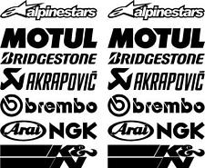 16 X Matt Black Belly Pan Fairing Sponsor Decals, Stickers Colour Choice 150mm