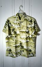 CREATIONS HAWAIIAN CAMP SHIRT LARGE SHORT SLEEVE GRAPHIC GREEN AND WHITE