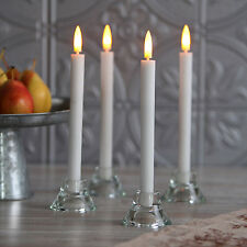 4 Flameless LED White Tall Push-Activated Wax Taper Candles w/ Timer + Batteries