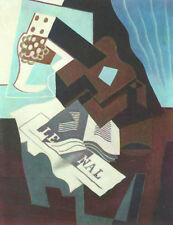 Cubist Modern Art Juan Gris Still Life With Guitar Book & Newspaper Oil Spanish