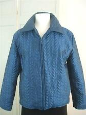 Chico's Design Jacket Top Aqua Blue Fabric Quilted Lightweight Zip Front Size 1